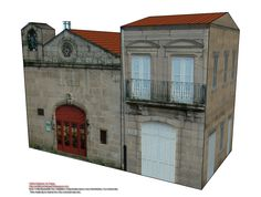 Our paper building today is a small house, without pretensions, which is annexed to the Chapel of Saints Cosmas and Damian (model 1446), by the right side. We have made this paper model because we aim to be completing the streets of Ourense and recreating each of the areas we're photographing.
