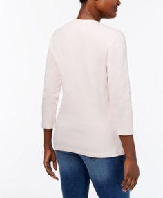 Karen Scott Cotton V-Neck Button Top, Created for Macy's - Purple XXL