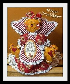 ~Primitive Christmas Gingerbread Tree Topper Angel with Baby Ornies~