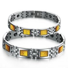 Healthy Stainless Steel Couple Set Bracelets Bangle Lover Wristband Gifts,one pair