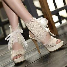 Lace Gladiator Sandals Women Pumps Platform Sandals High Heels Shoes Woman