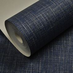 Viny Embossed Linen Metallic Plain Textured Wallpaper Roll Solid Navy Dark Blue for sale online
