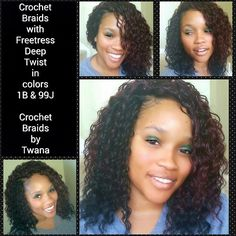 Crochet Braids with Freetress Deep Twist in colors and - crochetbraidsbytwana Curly Crochet Hair Styles, Crochet Braid Styles, Crochet Braids Hairstyles, Weave Hairstyles, Pretty Hairstyles, Girl Hairstyles, Curly Hair Styles, Natural Hair Styles, Crotchet Braids