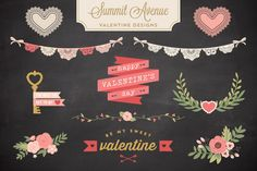 Valentine Bunting & Floral Bundle by Summit Avenue on Creative Market
