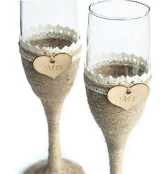1 Set Personalized Wedding Glasses, Rustic Wedding Champagne Toasting Flutes for sale online Rustic Wine Glasses, Rustic Wedding Glasses, Wedding Toasting Glasses, Rustic Wedding Gifts, Wedding Wine Bottles, Wedding Champagne Flutes, Toasting Flutes, Personalized Wedding, Burlap Lace