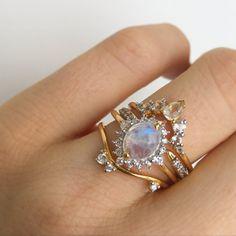 Rainbow Moonstone and Diamond Flowerburst Ring designed by La Kaiser White Gold Wedding Bands, Diamond Wedding Rings, Diamond Engagement Rings, Big Gold Hoop Earrings, Gold Diamond Band, Diamond Jewelry, Gold Jewelry, Moonstone Jewelry, Gold Ring