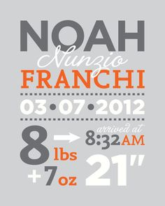 Baby Birth Announcement wall art for nursery - personalized birth statistics - printed on eco-friendly recycled paper