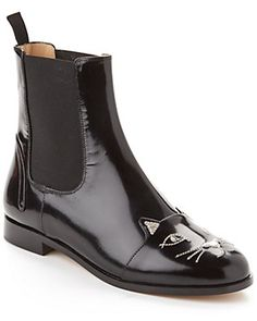 """Charlotte Olympia """"Chelsea Cat"""" Leather Boot"""