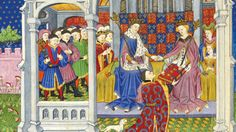 Image from the Shrewsbury Book which was a wedding present for Margaret of Anjou and Henry VI.  This image shows the two of them being presented with the book.
