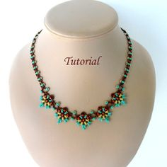ORCHIDEE superduo beaded necklace beading by PeyoteBeadArt on Etsy