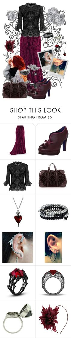 """""""Goth Dream"""" by aryery06gemini ❤ liked on Polyvore featuring Poetic Licence, Oscar de la Renta, Gucci, Elyse Jacob and Nanà Firenze"""