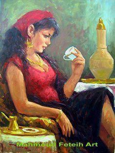 لوحه فنيه جميله للفنان محمود فتيح لامرأه مصريه تقرأ الفنجان بعد شرب القهوه