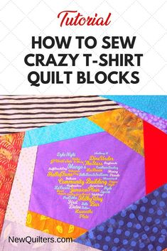 Tired of boring t-shirt quilts? Photo tutorial from NewQuilters.com shows you how to turn tee shirts into dramatic quilt blocks that make fabulous memory quilts and also use up your scraps! #t-shirtquilt #crazyquilt #scrappyquilt #quiltpiecing #tshirtquiltideas Crazy Quilt Blocks, Quilt Block Patterns, Quilting For Beginners, Quilting Tips, Scrappy Quilts, Easy Quilts, Programming Patterns, Memory Quilts, Shirt Quilts