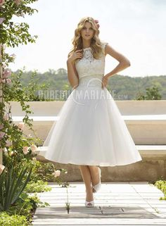 Dentelle robe de mariée pas cher col haut satin robe sur mesure [#ROBE207733] - robedumariage.com