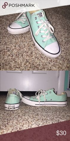 Teal Converse All Stars Mildly worn pair of converse! Very pretty blue/green color Converse Shoes Sneakers