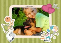 fotomontaje infantil con animales dibujados