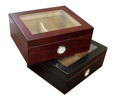 NEW CHALET GLASSTOP 25-50 CT CIGAR HUMIDOR BOX W/HUMIDIFIER & HYGROMETER- CHERRY