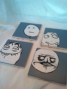 Custom Reddit Rage Face Coasters by oneredthreadtn on Etsy, $12.00