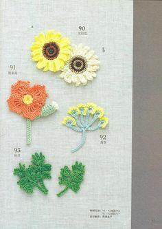 Crochet Motif, Crochet stitches and Japanese crochet. Crochet Cross, Crochet Art, Irish Crochet, Crochet Motif, Crochet Stitches, Crochet Sunflower, Crochet Leaves, Crochet Embellishments, Crochet Buttons