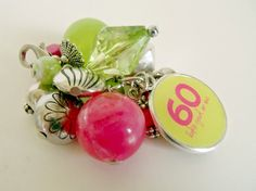 60th Birthday Over the Hill Hot Pink and Bright Green changeable Chunk Bead Cluster Charm or Key Chain on Etsy, $12.50