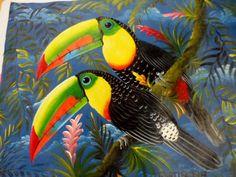 Rainforest Animal Painting Toucan Parrot Panama - 3.95818