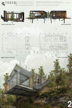 Die 15 besten Karriereende-Projekte in Mexiko, Hotel Endemic-Ecological . Presentation Board Design, Architecture Presentation Board, Architecture Board, Architecture Graphics, Concept Architecture, Landscape Architecture, Interior Architecture, Landscape Design, Architectural Presentation
