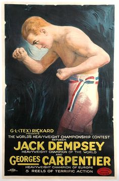 Georges Carpentier vs Jack Dempsey Otis Lithograph fight film poster.