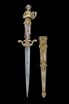 A silver and gold plated bronze dagger, Paris 19th century.