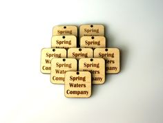Custom Wood Square Tags, Personalized Buttons, Wooden Tags, Wood Tags, Engraved Knitting Buttons, Craft Buttons, Business Tags, Laser Cut by MemorableLand on Etsy