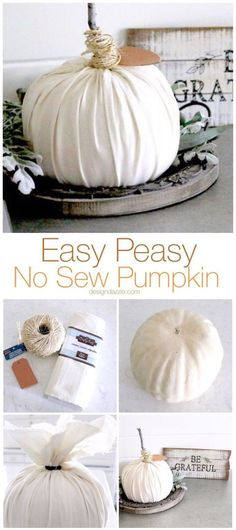 Easy peasy is the name of the game with this no sew pumpkin. This is so simple t… Easy peasy is the name of the game with this no sew pumpkin. This is so simple that even kids would enjoy making these pumpkins with you! Thanksgiving Crafts, Thanksgiving Decorations, Fall Crafts, Holiday Crafts, Fall Decorations, Diy Crafts, Fabric Crafts, Autumn Decorating, Pumpkin Decorating