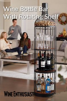Buy the Wine Bottle Iron and Wood Bar at Wine Enthusiast – we are your ultimate destination for wine storage, wine accessories, gifts and more! Alcohol Storage, Wine Storage, Wine Dispenser, Wine Shelves, Wine Decor, Wine Fridge, Bottle Crafts, Decoration, Bar Accessories