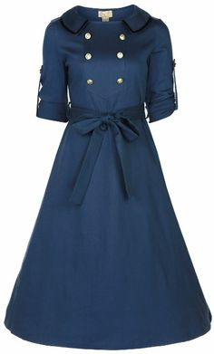 Lindy Bop Women's Velma Vintage 1940's Double Breasted Military Tea Dress
