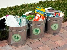 DIY Recyling Bins from Labeled Buckets