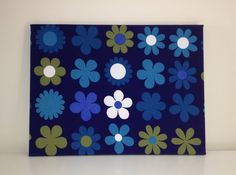 SALE Vintage Retro Wall Art - Heidi by Genia Sapper Fabric on Canvas 1960s Blue via Etsy