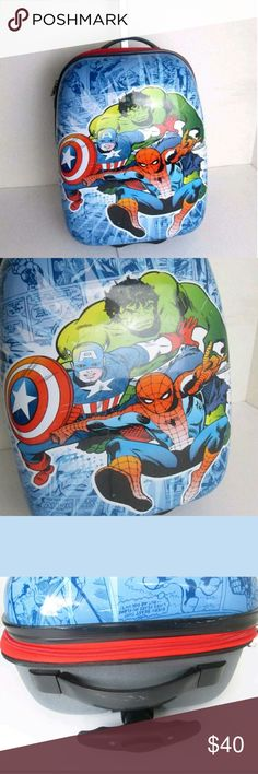 """Marvel Kids Carry On luggage SpiderMan Hulk Capt. Marvel Kids Carry On Suitcase SpiderMan Hulk Capt. America  Some scuffs on the outside. Inside is very clean  Rolling  Hardcase  Zipper opening  18""""  Please ask any questions. Marvel Other"""