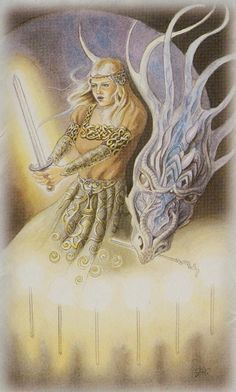 Celtic Dragon Tarot (DJ Conway, Lisa Hunt): 7 of Wands