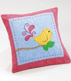 Cute whimsical bird applique pillow!