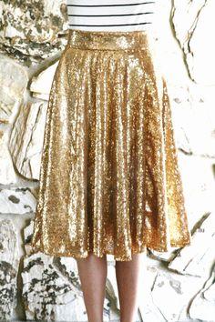 Life is Beautiful: DIY: Gold sequin circle skirt; midi and maxi
