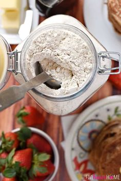 Whip up a breakfast of fluffy, homemade, whole wheat buttermilk pancakes in a matter of minutes with this all-natural Whole Wheat Pancake Mix! Easy Pancake Mix, Pancakes Easy, Buttermilk Pancakes, Whole Wheat Pancakes, Quick And Easy Breakfast, Pantry, Ice Cream, Jar, Sweets