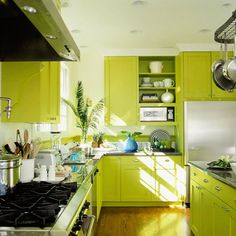 Use Your Favorite Color You are sure to love your room if you choose your favorite color to be the base of the scheme as in this bold lime kitchen. Editor's Tip: Balance bold hues with white, off-white, or one harmonizing shade through the accents and secondary elements