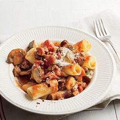 Holy cow this is good. Used my CSA canned tomatoes! Rigatoni with Meaty Mushroom Bolognese | MyRecipes.com