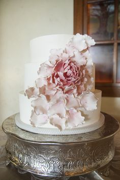 Pink and White Fondant Floral Wedding Cake | Betsi Ewing Studio | TheKnot.com