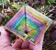 Bismuth Crystal 4 Inches 12.9 Oz Iridescent Rainbow Usa Grown 'aaa'