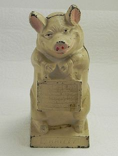 Hubley 1920-1930 Thrifty Pig Cast Iron Bank  I own a very similar one with three pigs.