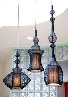 Pendant Light Fixtures ~ Exotic style of pendants plus additional drama if all three are hung at different lengths....great impact!