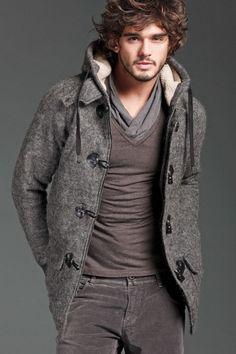 Textured brown wool duffel with faux fur hood