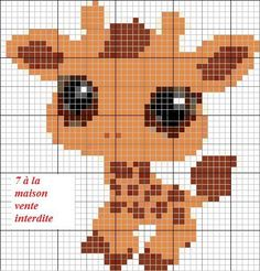 Littlest Pet Shop Peter beads pattern giraffe Cross Stitch For Kids, Cross Stitch Baby, Cross Stitch Animals, Cross Stitch Charts, Cross Stitch Designs, Cross Stitch Patterns, Beaded Cross Stitch, Cross Stitch Embroidery, Broderie Simple