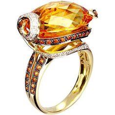 18K Yellow Gold Ring Set With Yellow Citrine, Spessartite and Diamond