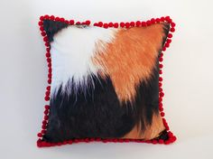 Cushion cover - 3 mixed colored cat pattern with bonbon frill - red. $47.00, via Etsy.