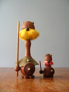 Danish Modern Teak Viking Figurines Pair by luola on Etsy